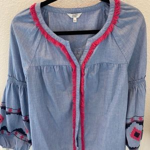 Boho tribal embroidered button up top
